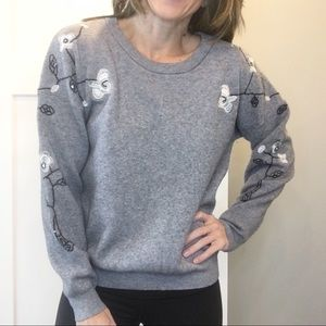 Anthro | Moth Sequin Embroidered Floral Sweater